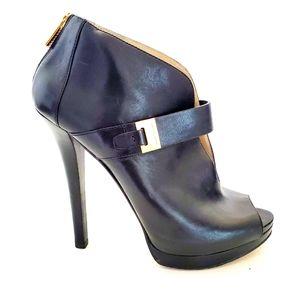 Michael Kors Black Leather Peep Toe Booties